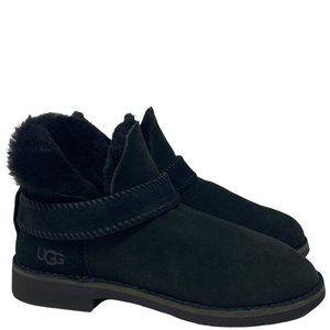 Ugg Mckay Black Booties Sheepskin Shearling Round Toe Pull-on Water Resistant 10